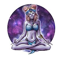 Meditating Alien Babe in Space Photographic Print