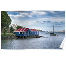 Blue boat shed Poster