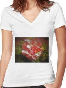 Shadow Clan Pink Flowers Women's Fitted V-Neck T-Shirt