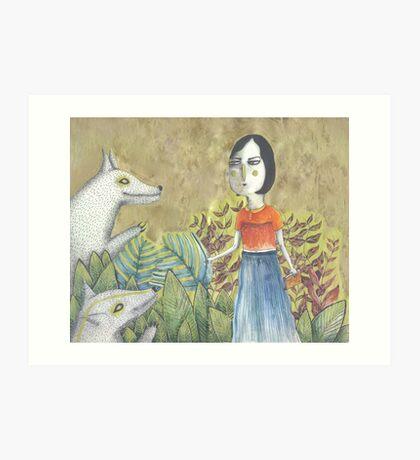 Lady Dances with Wolves Art Print