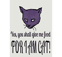 Yes, you shall give me food, FOR I AM CAT! Photographic Print