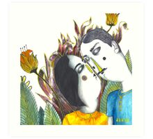 Kissing Couple in Jungle Art Print