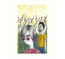 Couple in Forrest Art Print
