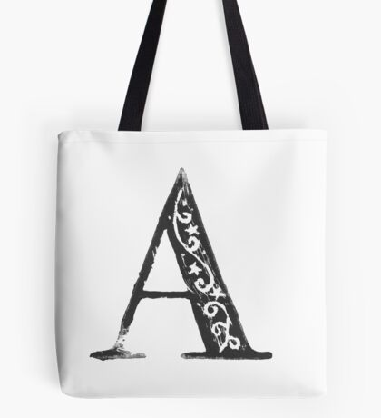 Serif Stamp Type - Letter A Tote Bag