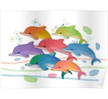 A Rainbow of Dolphins Poster