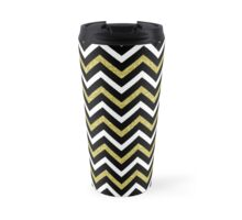Bling Chevron gold disco zig zag pattern throw pillow Travel Mug