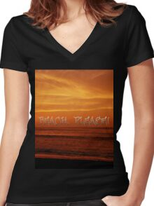 Beach, Please! Women's Fitted V-Neck T-Shirt