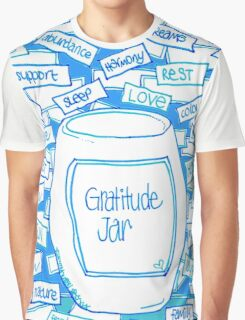 Gratitude Jar (on Blue) Graphic T-Shirt