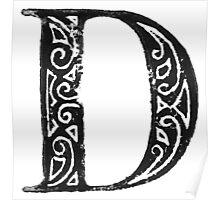 Serif Stamp Type - Letter D Poster