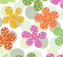 Vibrant Floral Pattern - Green Pink Orange Yellow  Sticker