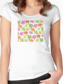 Vibrant Floral Pattern - Green Pink Orange Yellow  Women's Fitted Scoop T-Shirt