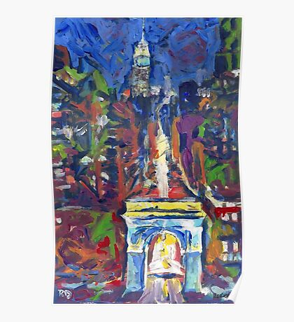 New York City, Washington Square and Fifth Avenue by Riccoboni Poster
