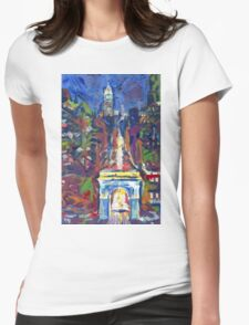 New York City Picture, Washington Square and Fifth Avenue Womens Fitted T-Shirt