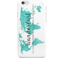 Wanderlust (n) Teal Watercolor World Map iPhone Case/Skin