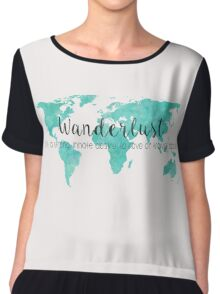 Wanderlust (n) Teal Watercolor World Map Chiffon Top