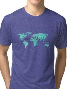 Wanderlust (n) Teal Watercolor World Map Tri-blend T-Shirt