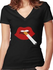 Cigarette Lips Women's Fitted V-Neck T-Shirt