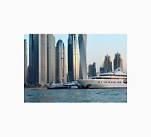 Photography of many tall buildings, skyscrapers skyline from Dubai and boats. United Arab Emirates. Unisex T-Shirt