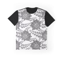 Black Abstract Flowers Graphic T-Shirt