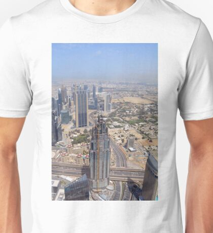 Photography of many tall buildings, skyscrapers seen from above from Dubai. United Arab Emirates. Unisex T-Shirt