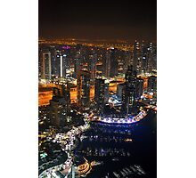 Photography of many tall buildings, skyscrapers skyline at night from Dubai. United Arab Emirates. Photographic Print
