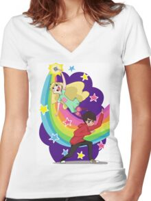 Star Butterfly and Marco Diaz Women's Fitted V-Neck T-Shirt