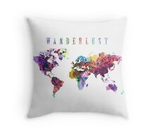 Wanderlust World Map Watercolor Throw Pillow