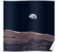 Pixel Moon and Earth Poster