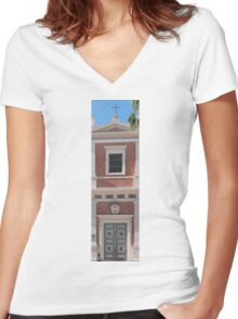 Israel, Jaffa, St Peter church and Monastery Women's Fitted V-Neck T-Shirt