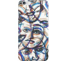 Crowd with colourful faces iPhone Case/Skin