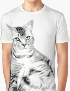 Lying Cat, Color Halftone Graphic T-Shirt