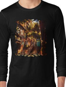 Time Traveller lost in china town art painting Long Sleeve T-Shirt
