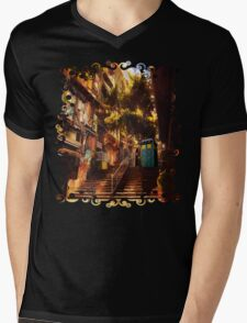 Time Traveller lost in china town art painting Mens V-Neck T-Shirt
