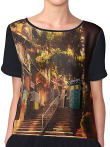 Time Traveller lost in china town art painting Chiffon Top
