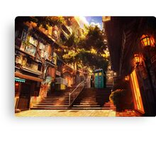 Time Traveller lost in china town art painting Canvas Print