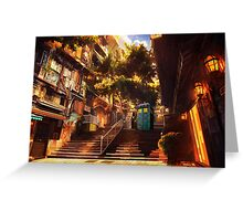 Time Traveller lost in china town art painting Greeting Card