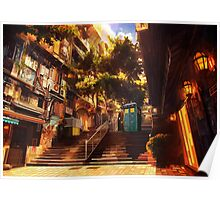 Time Traveller lost in china town art painting Poster