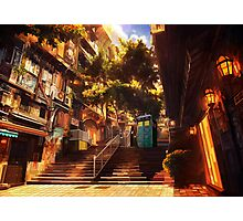 Time Traveller lost in china town art painting Photographic Print