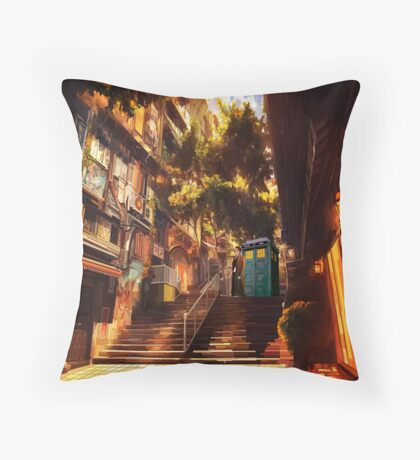 Time Traveller lost in china town art painting Throw Pillow