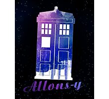 Allons-y TARDIS Watercolor Art Photographic Print