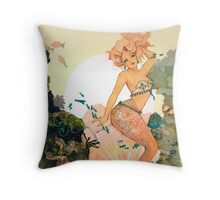 Rose Mermaid Throw Pillow