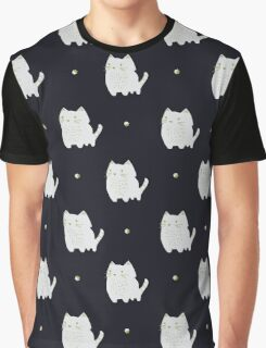 White and gold cat pattern Graphic T-Shirt