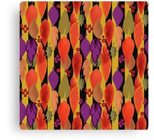 Seamless background pattern with colorful autumn leaves and berry illustration Canvas Print
