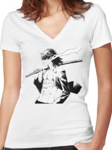 The Breaker: New Waves Nine Arts Dragon Women's Fitted V-Neck T-Shirt