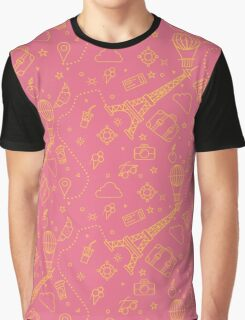 Paris Seamless Pattern with Eiffel Tower and Travel Elements Graphic T-Shirt