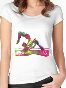 Couple yoga watercolour art Women's Fitted Scoop T-Shirt