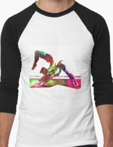 Couple yoga watercolour art Men's Baseball ¾ T-Shirt