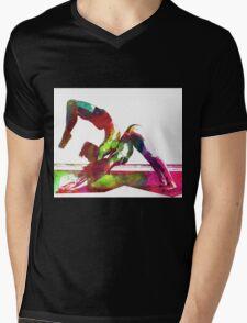 Couple yoga watercolour art Mens V-Neck T-Shirt
