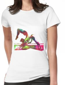 Couple yoga watercolour art Womens Fitted T-Shirt