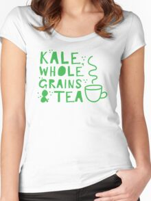 KALE, whole grains and tea Women's Fitted Scoop T-Shirt